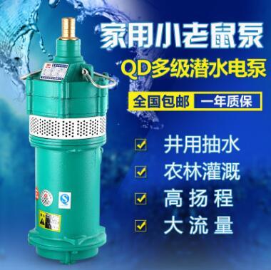 人民牌QD家用小型高扬程立式多节潜水泵220v小老鼠清水抽水泵380V