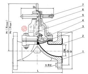 G41C堰式搪瓷隔膜阀结构图