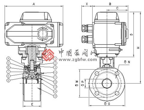 电动对夹式球阀结构图