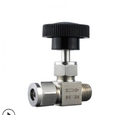 304不锈钢双卡套针型阀 仿美针形截止阀 仪器流量调节阀3 4 10mm