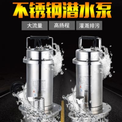 304不锈钢潜水泵家用抽水泵220v耐腐蚀耐酸碱污水泵化工泵排污泵